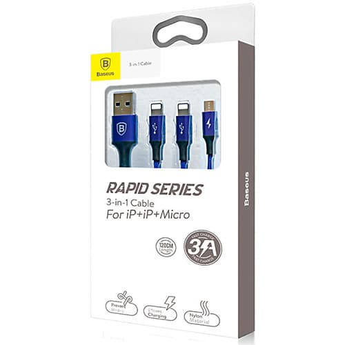 Baseus Rapid Series 3-in-1 Cable Micro+Dual Lightning 3A 1.2M Dark Blue