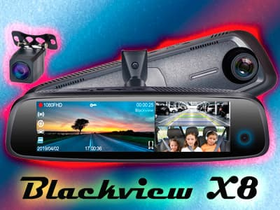 Blackview X8 – видеорегистратор-зеркало с 3-мя камерами, 4G, Wi-Fi, GPS, ADAS и Bluetooth.
